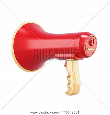 Red speaker isolated on white background. 3d rendering