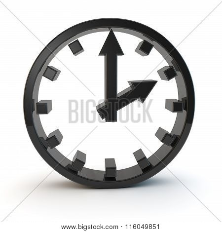 3D Black Clock 2 Pm Symbol