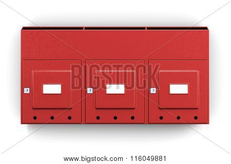 Section metal mailbox isolated on white background. 3d rendering
