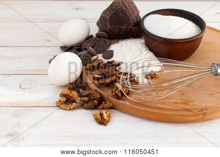 Ingredients For A Batch Of Homemade Chocolate Cake Brownie