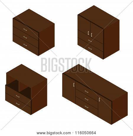 Set Of Four Bureau. Isometric.