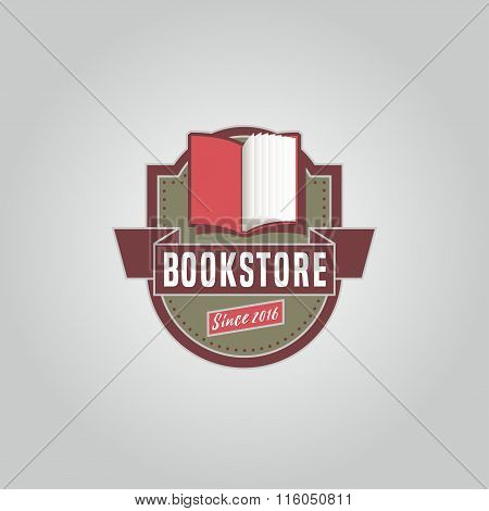 Bookstore or library vector logo template in vintage style