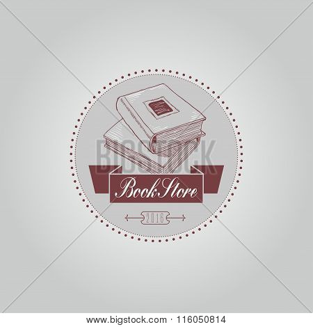 Bookstore or library vector logo template in vintage thin line style