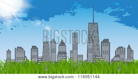 Natural Sunny on background of business city and green grass. Ba