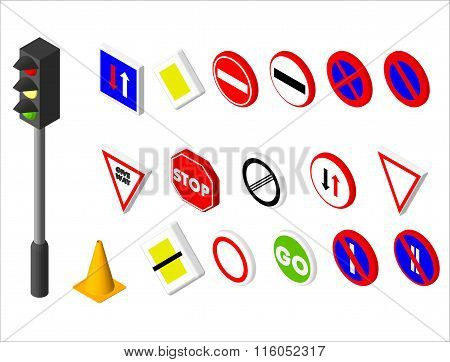 Isometric icons various road sign and traffic light. European and american style design. Vector illu