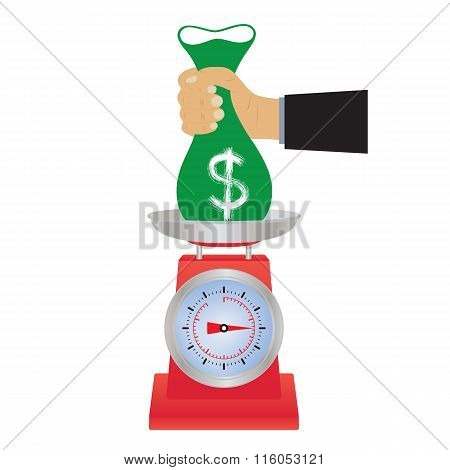 Bag Of Money On The Scales.