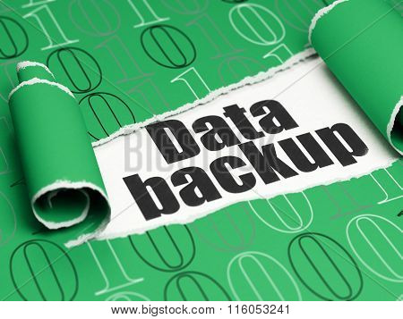 Information concept: black text Data Backup under the piece of  torn paper