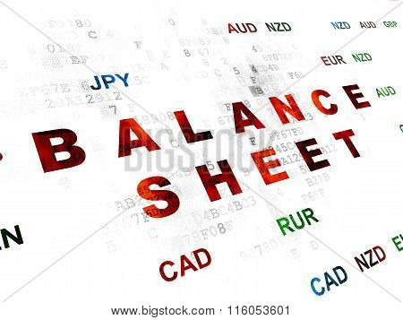 Currency concept: Balance Sheet on Digital background