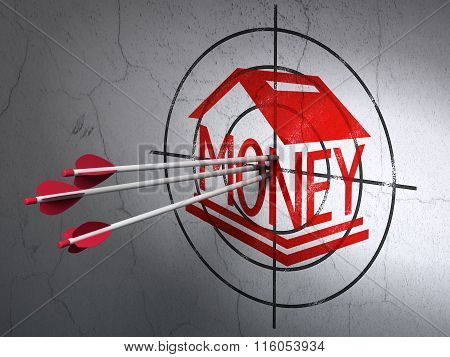 Banking concept: arrows in Money Box target on wall background