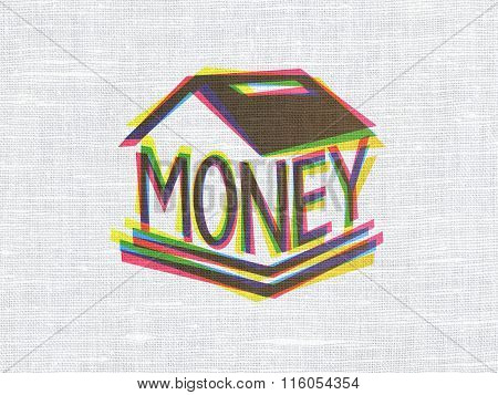 Currency concept: Money Box on fabric texture background