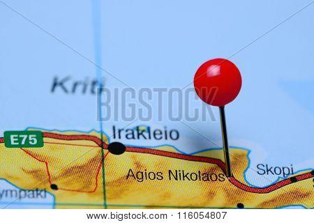Agios Nikolaos pinned on a map of Greece