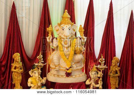 Ganesh idol. Ganesh is the Hindu elephant-headed God.