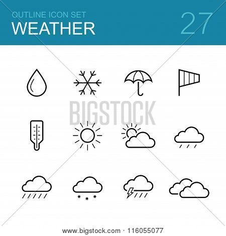 Weather vector outline icon set