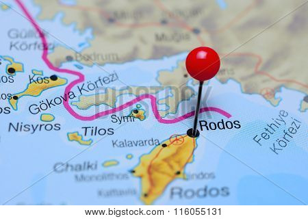 Rodos pinned on a map of Greece