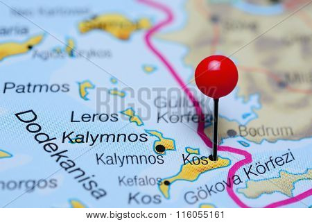 Kos pinned on a map of Greece