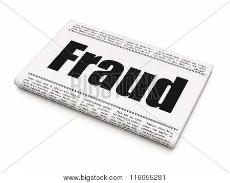 Security concept: newspaper headline Fraud