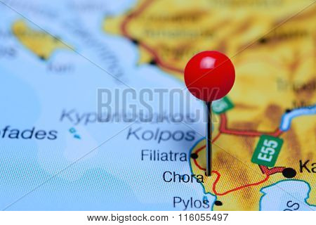 Chora pinned on a map of Greece