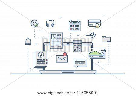 Web design icons. Line art. Stock vector.