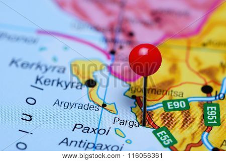 Parga pinned on a map of Greece
