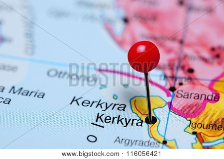 Kerkyra pinned on a map of Greece
