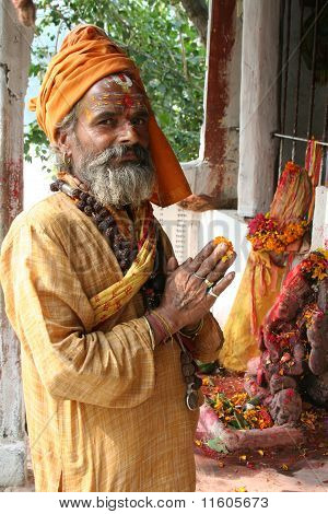 Holy Sadhu Offering Prayers
