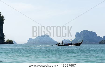 Longtail boat, Railay beach in Thailand