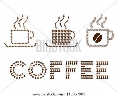 Coffee cups glyph composition with coffee beans