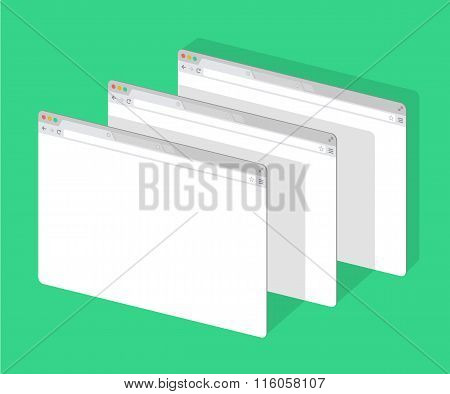 3 web simple set of Browser window white, green background, flat