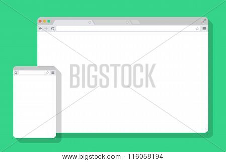 Set of Flat blank browser windows for different devices. Vector. Computer, phone sizes.