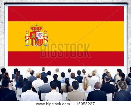 Spain National Flag Seminar Business Concept