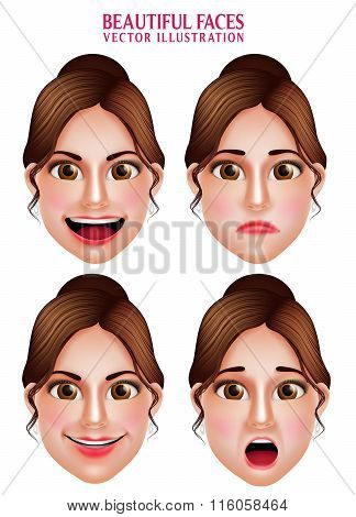 Set of 3D Realistic Beautiful Makeup Faces of Woman  Vector Character