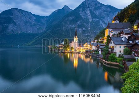 HALLSTATT, AUSTRIA - 20 JUNE 2014: Beautifull architecture of Hallstatt town in Austria. Hallstatt is historical village located in Austrian Alps and promoted by UNESCO World Heritage region.