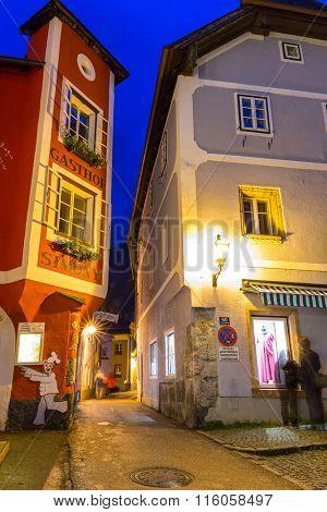 HALLSTATT, AUSTRIA - 20 JUNE 2014: Town square in Hallstatt, Austria. Hallstatt is historical village located in Austrian Alps at the Hallstatter lake and promoted by UNESCO World Heritage region.