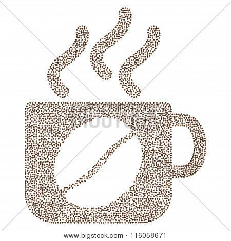 Steam coffee cup vector composition with coffee beans