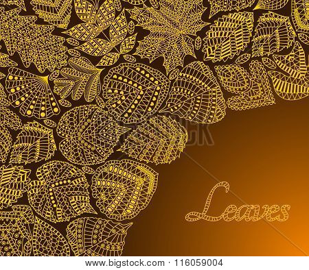 Pattern with different tree leaves such as oak and maple, chestnut and birch, aspen and linden, popl