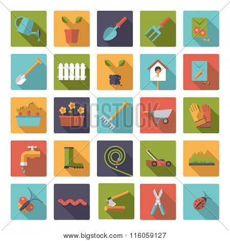 Flat design gardening vector icons in rounded squares