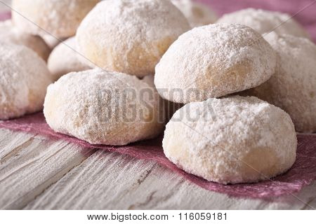 Shortbread With Powdered Sugar Close-up On A Table. Horizontal