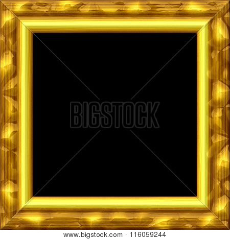 Vintage Golden Metal Or Wooden Blank Frame With Texture