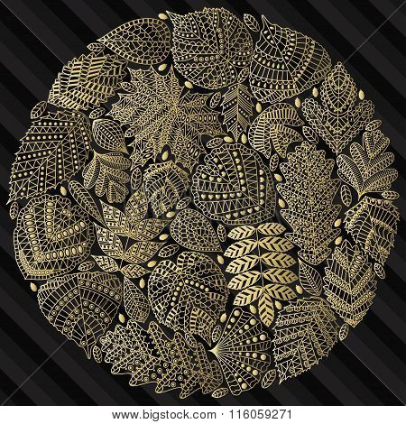Round pattern with different tree leaves such as oak and maple, chestnut and birch, aspen and linden
