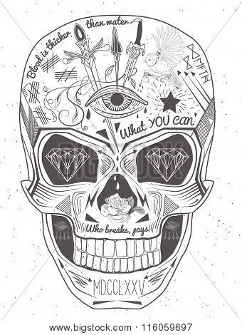 Vintage label skull. Printing Elements. Skull retro logo