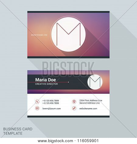 Creative And Clean Business Card Or Name Badge Template. Logotype Letter M. Flat Design Vector Illus