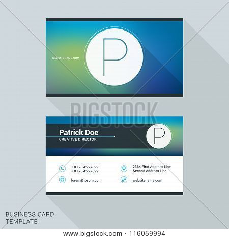 Creative And Clean Business Card Or Name Badge Template. Logotype Letter P. Flat Design Vector Illus