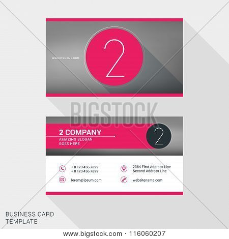 Creative And Clean Business Card Or Name Badge Template. Logotype Number 2. Flat Design Vector Illus