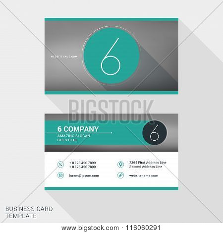 Creative And Clean Business Card Or Name Badge Template. Logotype Number 6. Flat Design Vector Illus