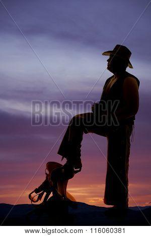 Silhouette Cowboy Vest Open Foot On Saddle