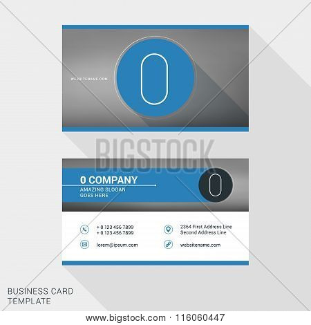 Creative And Clean Business Card Or Name Badge Template. Logotype Number 0. Flat Design Vector Illus
