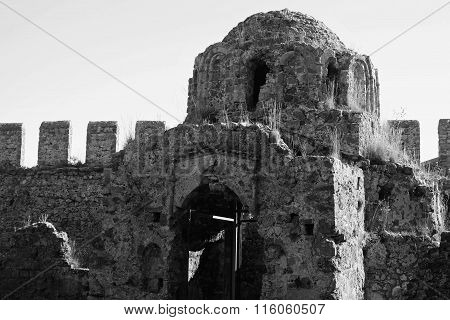 Ruins of Byzantine Church of Saint George in Alanya Castle