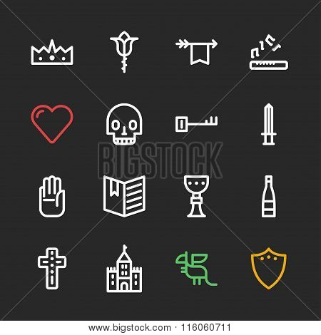 Set Of Line Art Flat Vector Fantasy Icons. King, Dragon, Castle, Potion, Sword, Cup