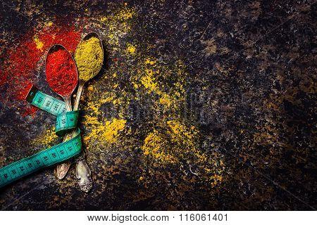 Spices On Dark Stone Background