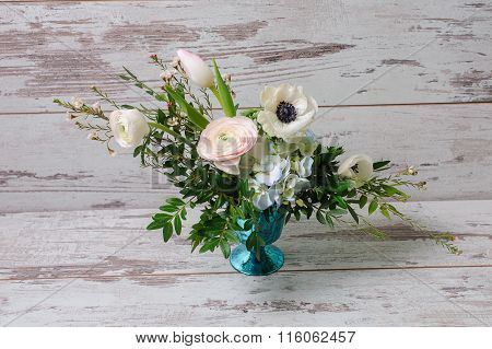 Ranunculus And The Anemones In Vase.